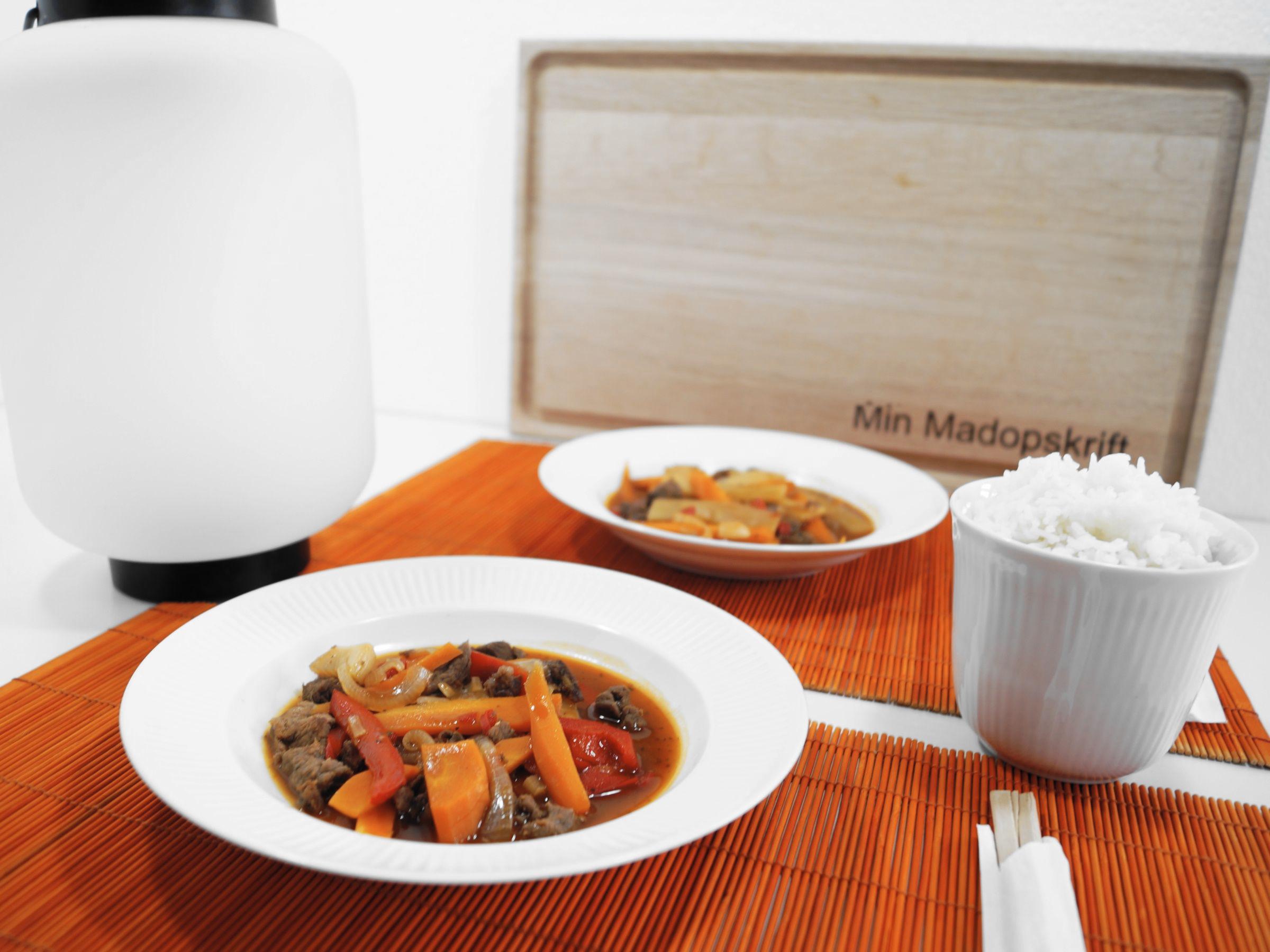 Asiatisk opskrift med oksekød i hoisin sauce og ris