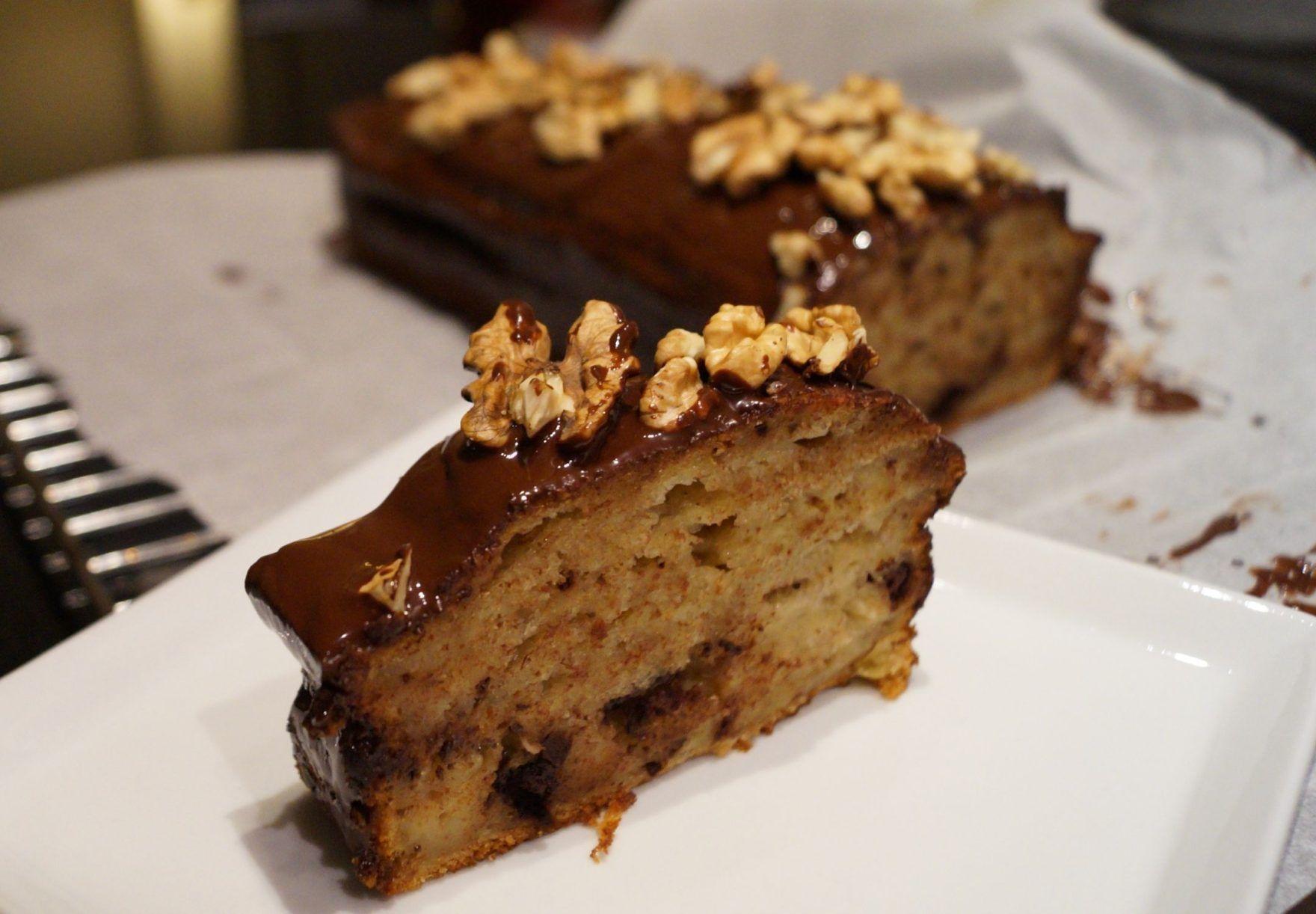 Banankage Med Chokolade Svampet Og Lækker