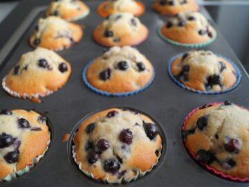 Blåbår muffins bagt i muffinform