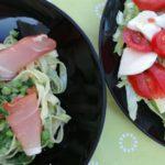 Fettuccine med serranoskinke og salat med Mozzarella