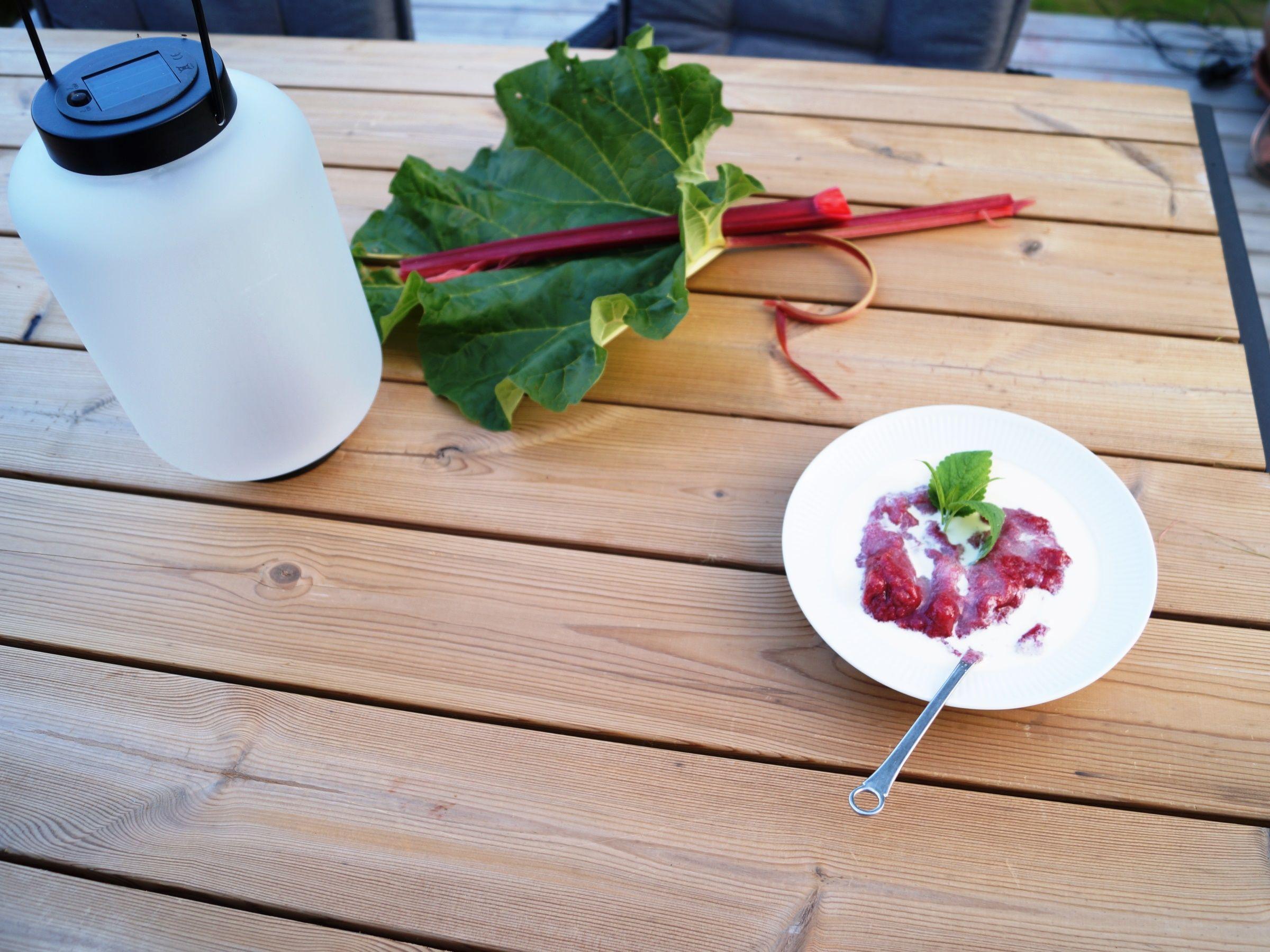 Gammeldags rabarbergrød med fløde og sukker