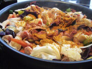 Grøntsager med bacon
