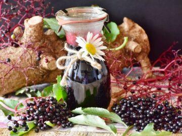 Hyldebærsaft på flaske og friske hyldebær