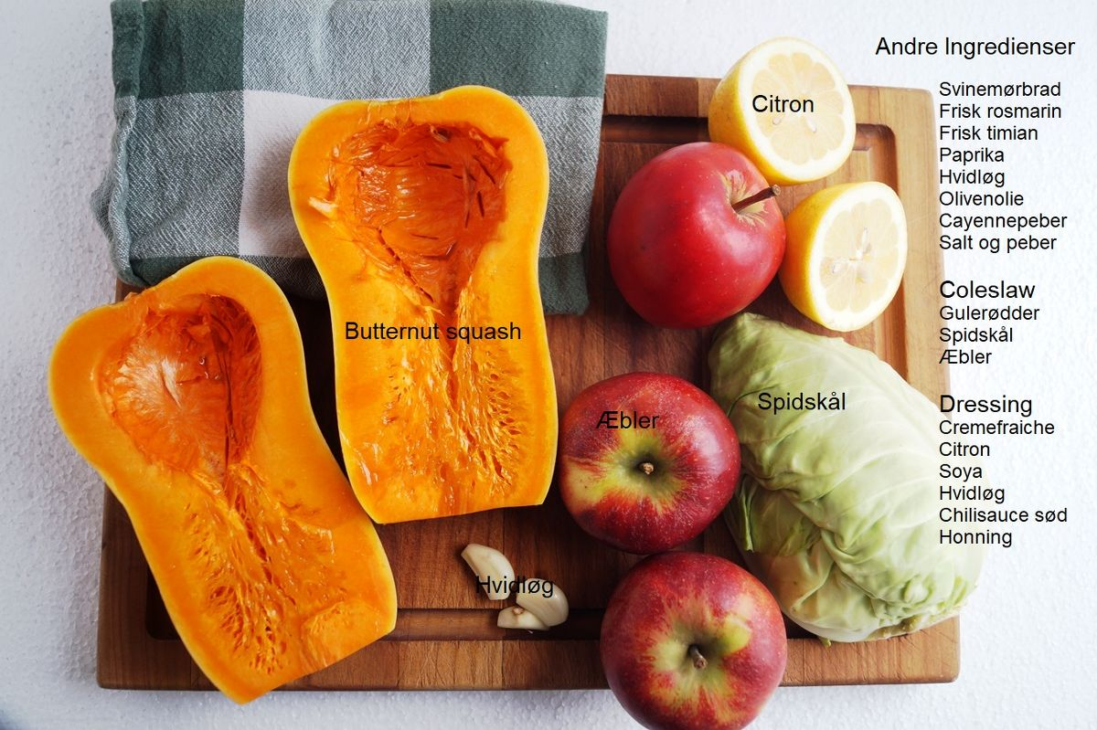 Ingredienser til svinemørbrad med butternut squash og coleslaw