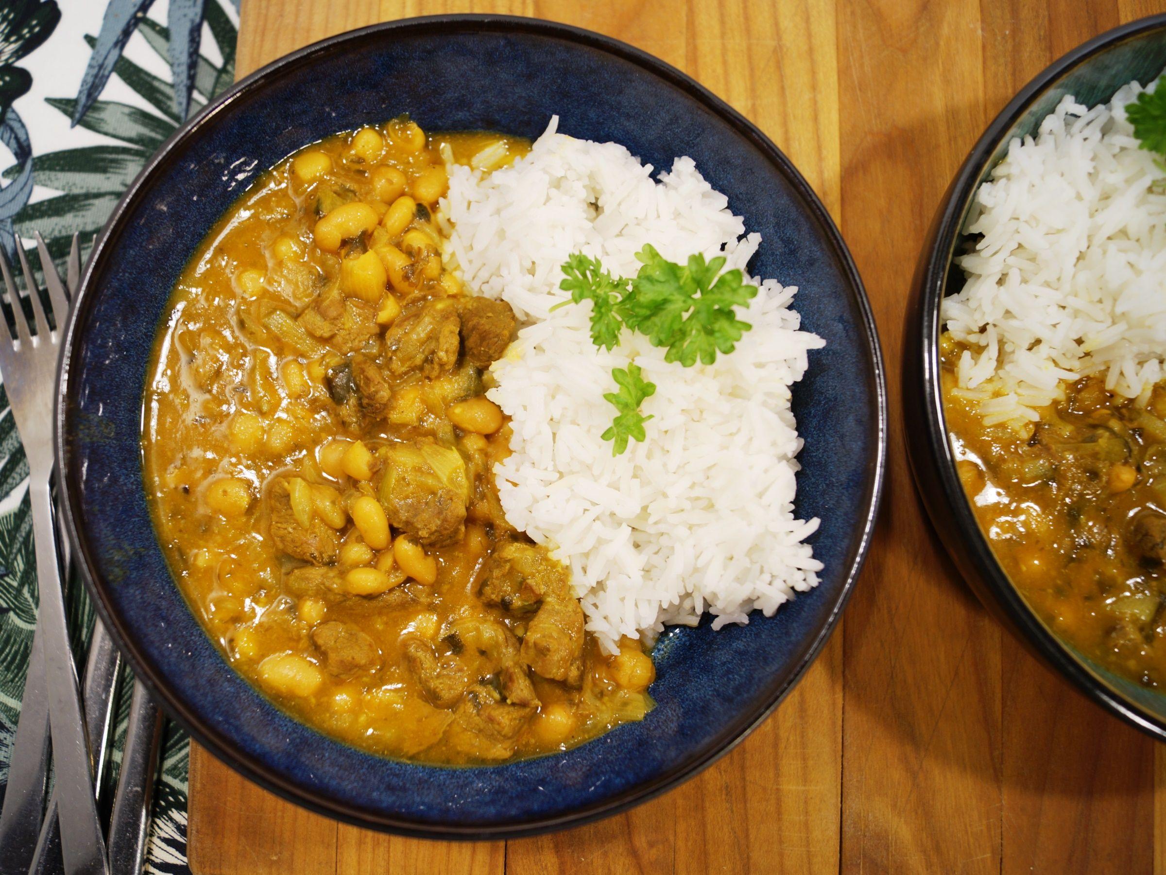 Iransk oksekødgryde med baked beans