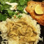 Kalkunfilet med ris, champignons og spinat