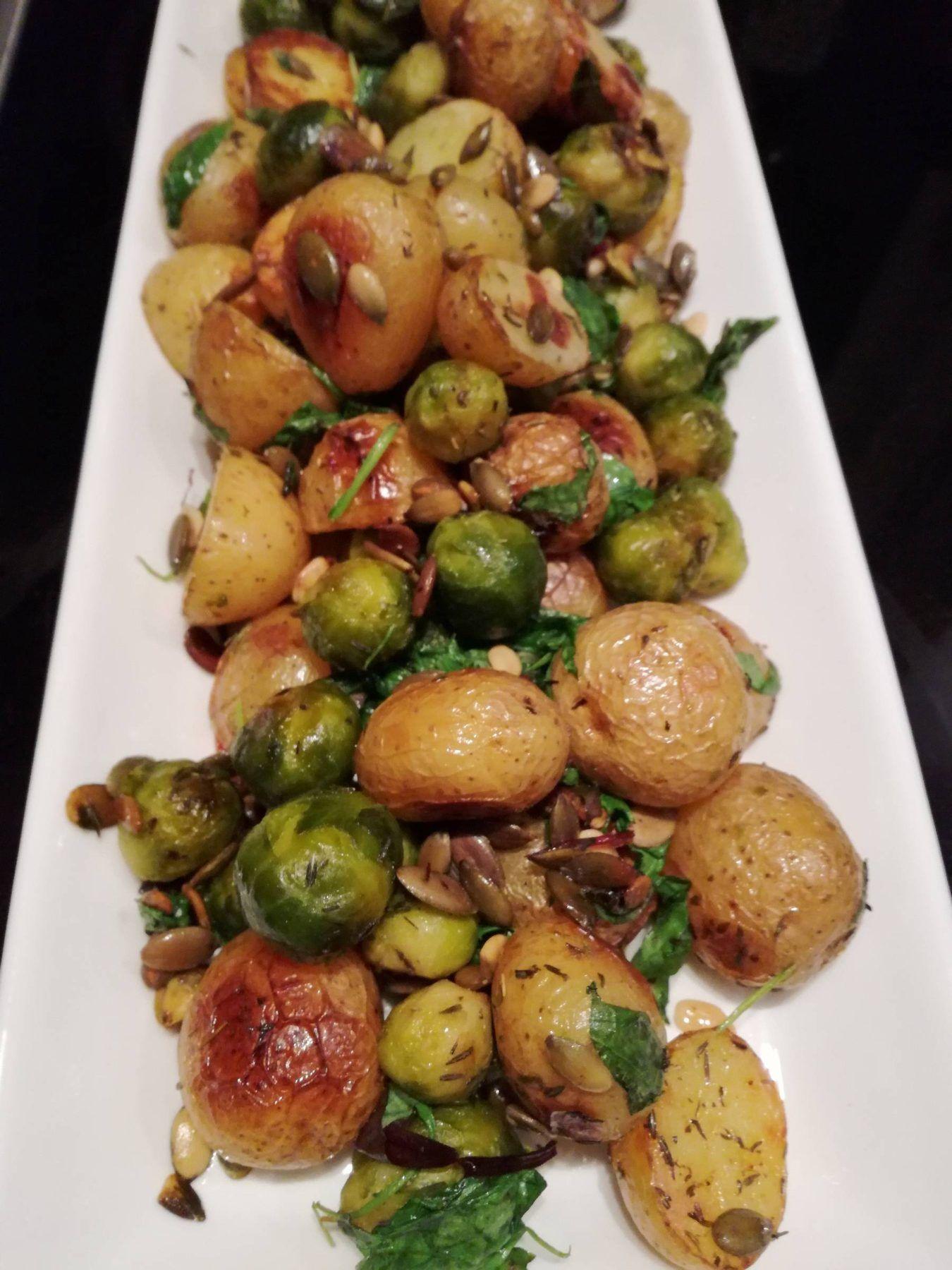 Kartofler og rosenkål svitset på panden