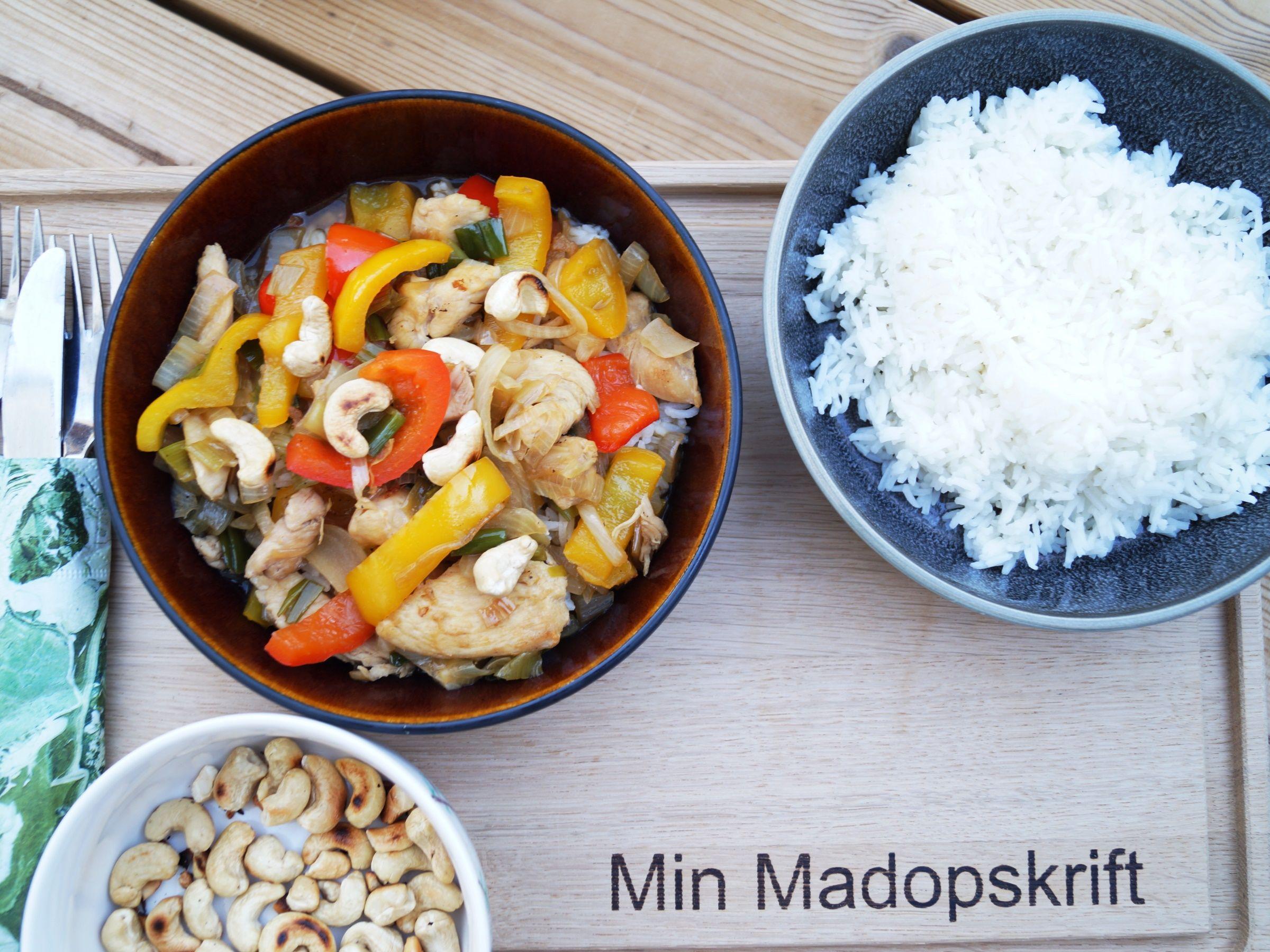 Kylling i hoisin sauce og ris