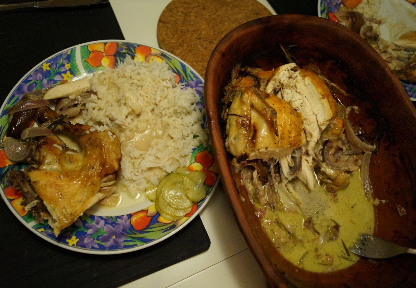 Kylling i Römertopf med flødesauce