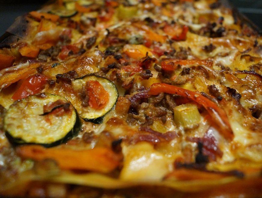 Lasagne med kylling og oksekød