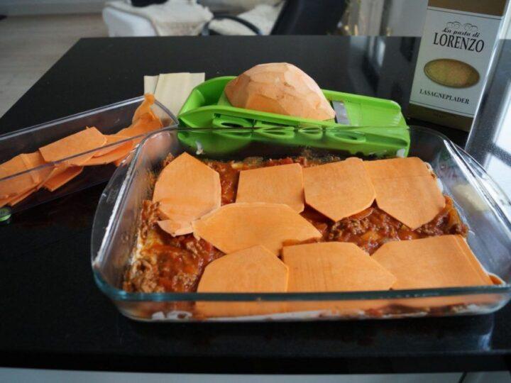 Lasagne med sød kartoffel