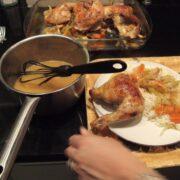 Ovnstegt kylling med sauce af æblejuice