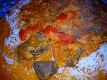 Paprikagryde med ris