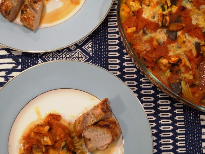 Ratatouille i ovn med svinemørbrad