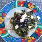 Spinatfad med oksekød og ris